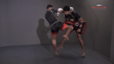 Lamnammoon Sor Sumalee: Push Kick To Jump Knee