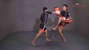 Muangfalek Kiatvichian: Low Kick, Fake Low Kick to Right Cross