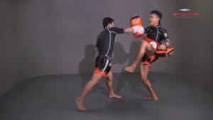 Muangfalek Kiatvichian: Low Kick, Fake Low Kick to Right Cross