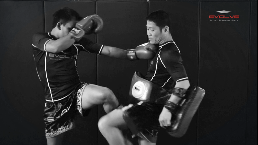 Saenghirun Lookbanyai: Right Block, Right Low Kick, Right Block, Left Hook