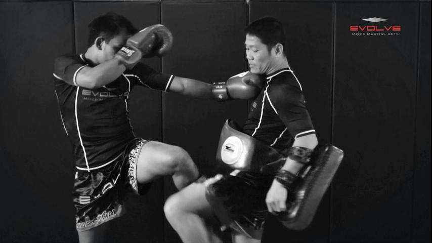 Saenghirun Lookbanyai: Right Block, Right Low Kick, Right Block, Left Hook