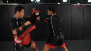 Dejdamrong Sor Amnuaysirichok: Left Fake, Left Up Elbow, Left Elbow, Right High Kick