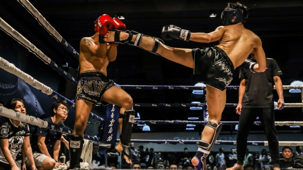 muay thai sparring with gear