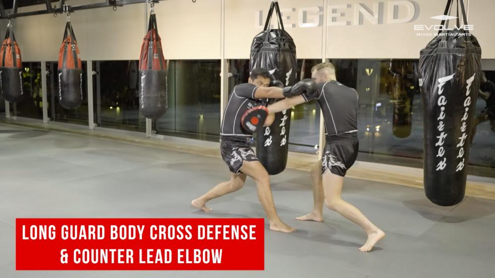 Long guard body cross defense & counter lead elbow